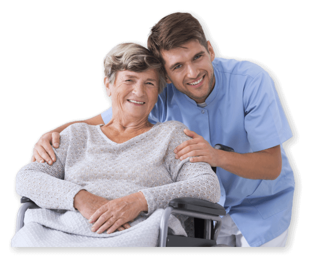 photo of a male caregiver with as senior woman